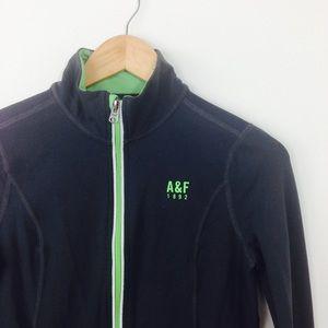 A&F gray green athletic jacket thumb holes T38